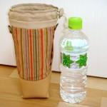 ベージュレザーと遠州紬のペットボトルホルダー by katsu